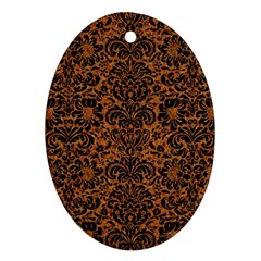 DAMASK2 BLACK MARBLE & RUSTED METAL Oval Ornament (Two Sides)