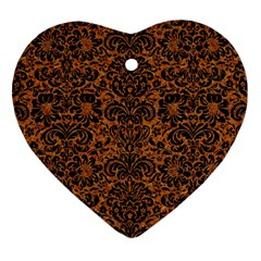 DAMASK2 BLACK MARBLE & RUSTED METAL Heart Ornament (Two Sides)