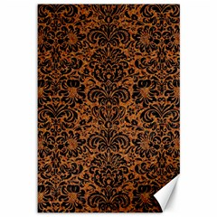 Damask2 Black Marble & Rusted Metal Canvas 12  X 18   by trendistuff