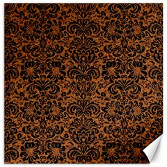 Damask2 Black Marble & Rusted Metal Canvas 16  X 16   by trendistuff