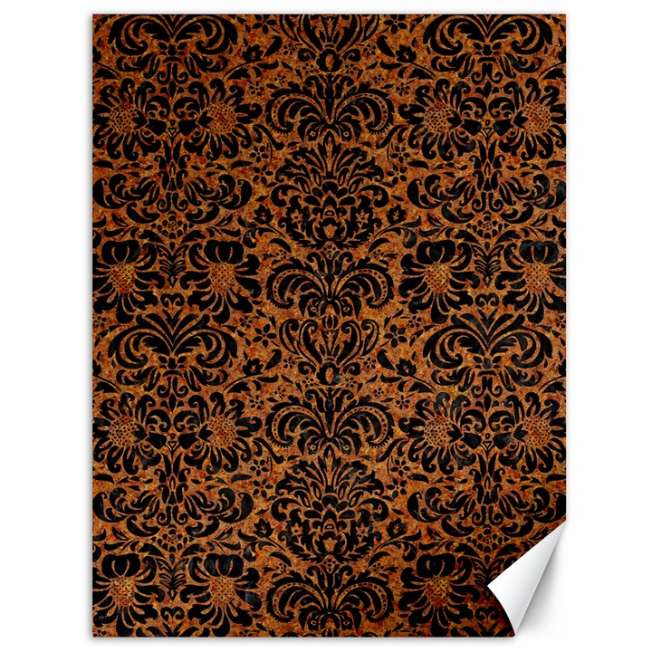 DAMASK2 BLACK MARBLE & RUSTED METAL Canvas 36  x 48