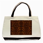 DAMASK2 BLACK MARBLE & RUSTED METAL Basic Tote Bag (Two Sides) Back