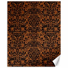 Damask2 Black Marble & Rusted Metal Canvas 11  X 14   by trendistuff