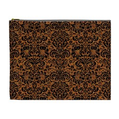 DAMASK2 BLACK MARBLE & RUSTED METAL Cosmetic Bag (XL)