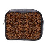 DAMASK2 BLACK MARBLE & RUSTED METAL Mini Toiletries Bag 2-Side Front