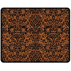 Damask2 Black Marble & Rusted Metal Fleece Blanket (medium)  by trendistuff