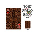 DAMASK2 BLACK MARBLE & RUSTED METAL Playing Cards 54 (Mini)  Front - Heart5