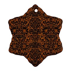 DAMASK2 BLACK MARBLE & RUSTED METAL Snowflake Ornament (Two Sides)