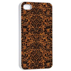 Damask2 Black Marble & Rusted Metal Apple Iphone 4/4s Seamless Case (white) by trendistuff