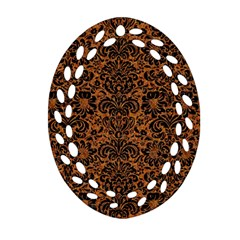 DAMASK2 BLACK MARBLE & RUSTED METAL Oval Filigree Ornament (Two Sides)
