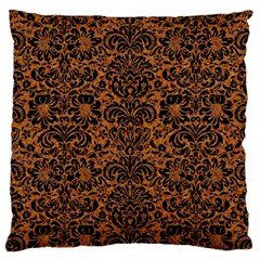 DAMASK2 BLACK MARBLE & RUSTED METAL Large Cushion Case (One Side)