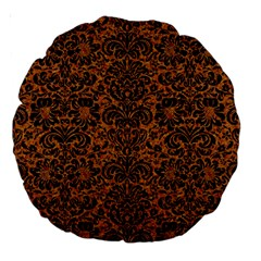 Damask2 Black Marble & Rusted Metal Large 18  Premium Round Cushions by trendistuff
