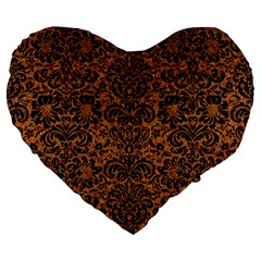 Damask2 Black Marble & Rusted Metal Large 19  Premium Heart Shape Cushions by trendistuff