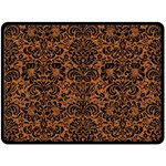 DAMASK2 BLACK MARBLE & RUSTED METAL Double Sided Fleece Blanket (Large)  80 x60 Blanket Back