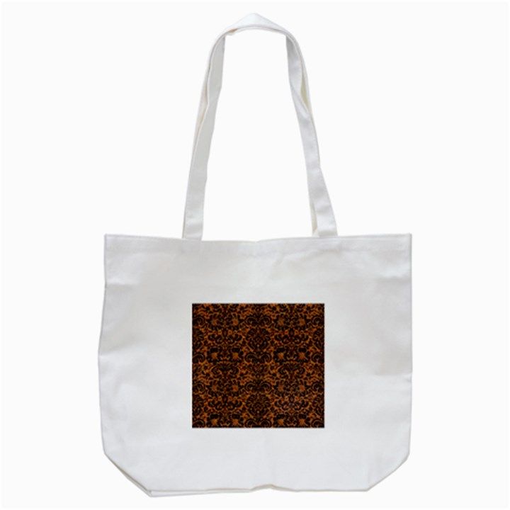 DAMASK2 BLACK MARBLE & RUSTED METAL Tote Bag (White)