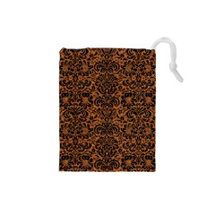 DAMASK2 BLACK MARBLE & RUSTED METAL Drawstring Pouches (Small)