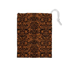 DAMASK2 BLACK MARBLE & RUSTED METAL Drawstring Pouches (Medium)