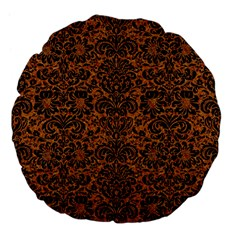 Damask2 Black Marble & Rusted Metal Large 18  Premium Flano Round Cushions by trendistuff