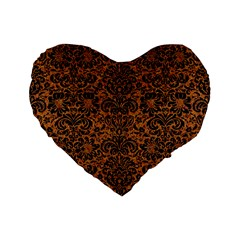 Damask2 Black Marble & Rusted Metal Standard 16  Premium Flano Heart Shape Cushions by trendistuff