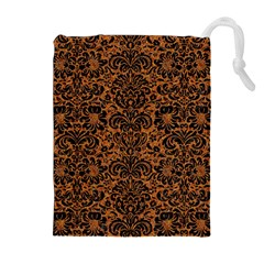 DAMASK2 BLACK MARBLE & RUSTED METAL Drawstring Pouches (Extra Large)