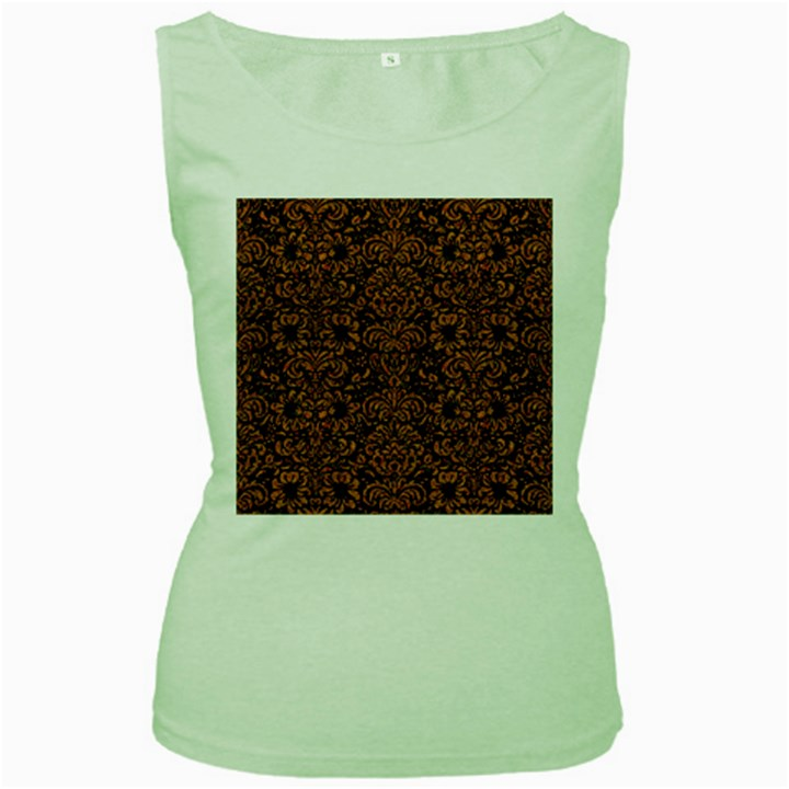 DAMASK2 BLACK MARBLE & RUSTED METAL (R) Women s Green Tank Top