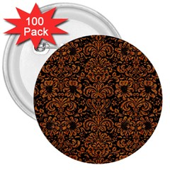 Damask2 Black Marble & Rusted Metal (r) 3  Buttons (100 Pack)  by trendistuff