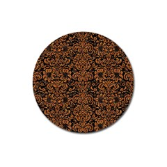 Damask2 Black Marble & Rusted Metal (r) Magnet 3  (round)