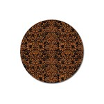 DAMASK2 BLACK MARBLE & RUSTED METAL (R) Magnet 3  (Round) Front