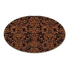 Damask2 Black Marble & Rusted Metal (r) Oval Magnet by trendistuff