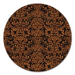Damask2 Black Marble & Rusted Metal (r) Magnet 5  (round) by trendistuff
