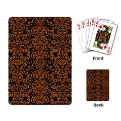 Damask2 Black Marble & Rusted Metal (r) Playing Card by trendistuff