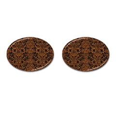 Damask2 Black Marble & Rusted Metal (r) Cufflinks (oval) by trendistuff