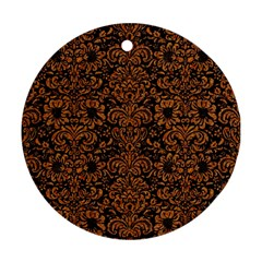 Damask2 Black Marble & Rusted Metal (r) Round Ornament (two Sides) by trendistuff
