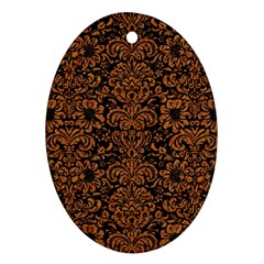 Damask2 Black Marble & Rusted Metal (r) Oval Ornament (two Sides)