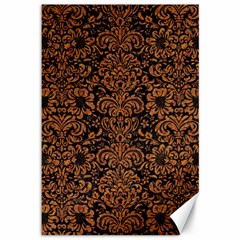 Damask2 Black Marble & Rusted Metal (r) Canvas 12  X 18   by trendistuff