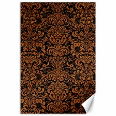 Damask2 Black Marble & Rusted Metal (r) Canvas 24  X 36  by trendistuff
