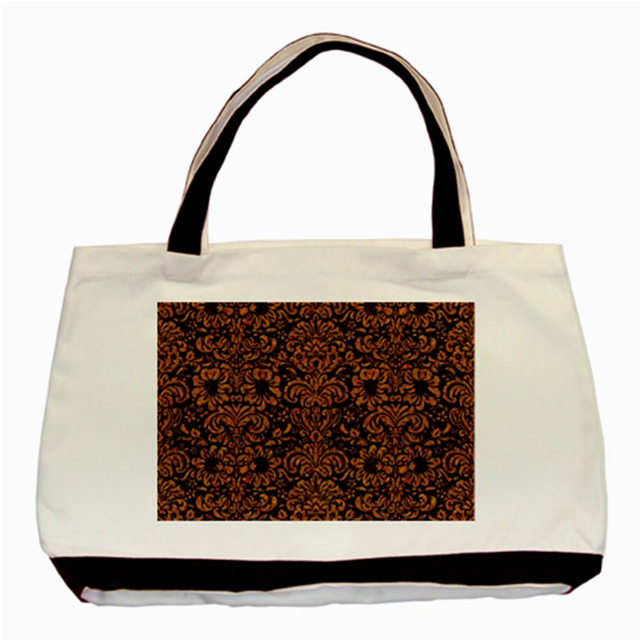 DAMASK2 BLACK MARBLE & RUSTED METAL (R) Basic Tote Bag (Two Sides)