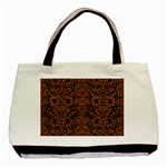DAMASK2 BLACK MARBLE & RUSTED METAL (R) Basic Tote Bag (Two Sides) Back