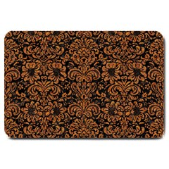 Damask2 Black Marble & Rusted Metal (r) Large Doormat