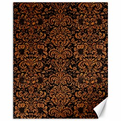 Damask2 Black Marble & Rusted Metal (r) Canvas 11  X 14   by trendistuff