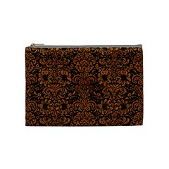 Damask2 Black Marble & Rusted Metal (r) Cosmetic Bag (medium)  by trendistuff