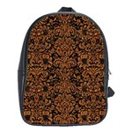DAMASK2 BLACK MARBLE & RUSTED METAL (R) School Bag (Large) Front