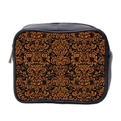Damask2 Black Marble & Rusted Metal (r) Mini Toiletries Bag 2 Side by trendistuff