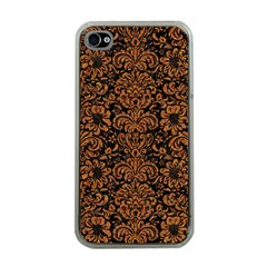 Damask2 Black Marble & Rusted Metal (r) Apple Iphone 4 Case (clear) by trendistuff