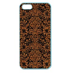 Damask2 Black Marble & Rusted Metal (r) Apple Seamless Iphone 5 Case (color) by trendistuff