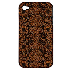 Damask2 Black Marble & Rusted Metal (r) Apple Iphone 4/4s Hardshell Case (pc+silicone) by trendistuff