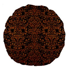 Damask2 Black Marble & Rusted Metal (r) Large 18  Premium Round Cushions by trendistuff