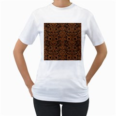 Damask2 Black Marble & Rusted Metal (r) Women s T Shirt (white)