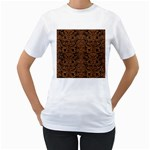 DAMASK2 BLACK MARBLE & RUSTED METAL (R) Women s T-Shirt (White)  Front