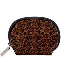 Damask2 Black Marble & Rusted Metal (r) Accessory Pouches (small)  by trendistuff